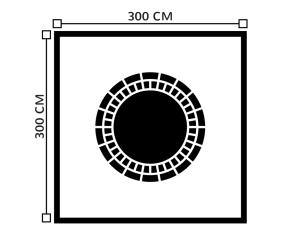 Diagrama de carpa 3 metros x 3 metros