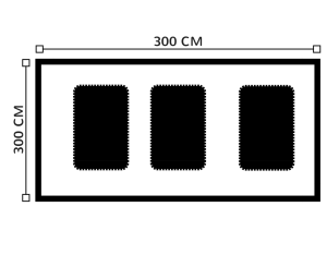 Diagrama de carpa 6 metros x 6 metros